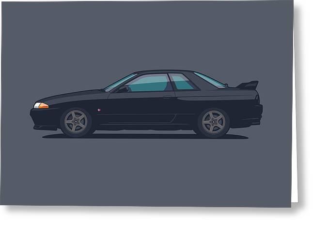 Nissan Skyline R32 Gt-r - Plain Gunmetal Greeting Card