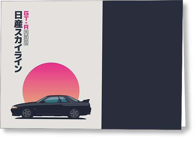 Nissan Skyline R32 Gt-r - Sunset Gunmetal Greeting Card