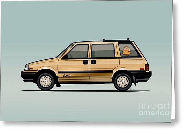 Nissan Stanza / Prairie 4wd Wagon Gold Greeting Card by Monkey Crisis On Mars