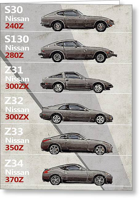 Nissan Z Generations - History - Timeline  Greeting Card