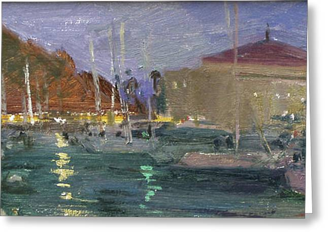 Nite Avalon Harbor - Catalina Island Greeting Card