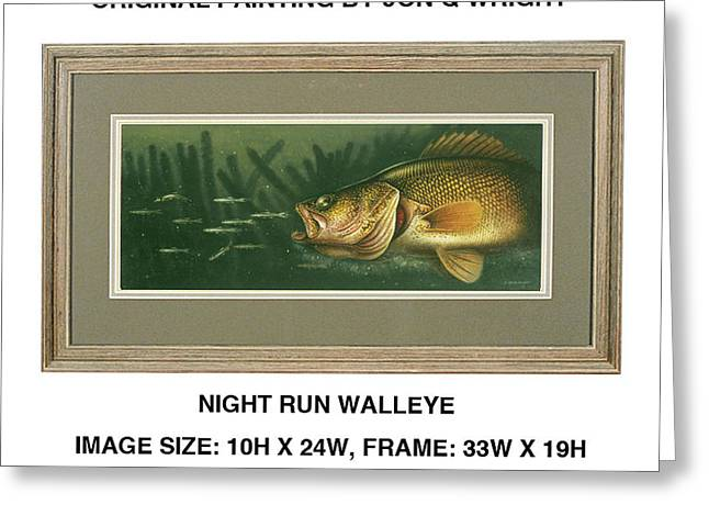 Nite Run Walleye Greeting Card by Jon Q Wright