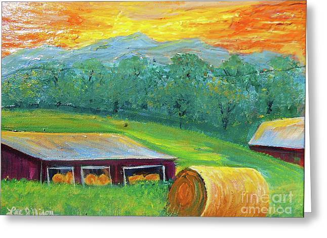 Greeting Card featuring the painting Nixon' Colorful Farm View by Lee Nixon