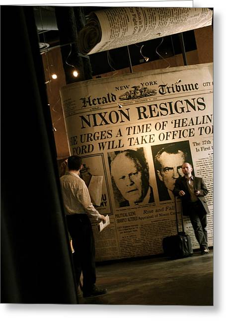 Greeting Card featuring the photograph Nixon Resigns by Kate Purdy
