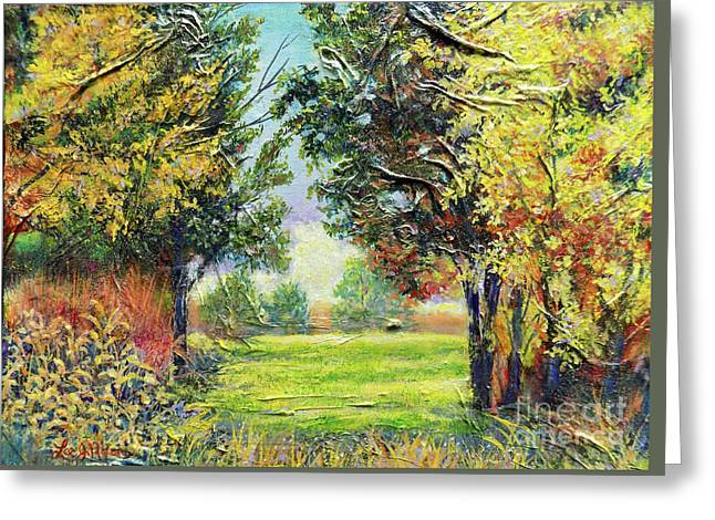 Greeting Card featuring the painting Nixon's A Tranquil Morning View by Lee Nixon
