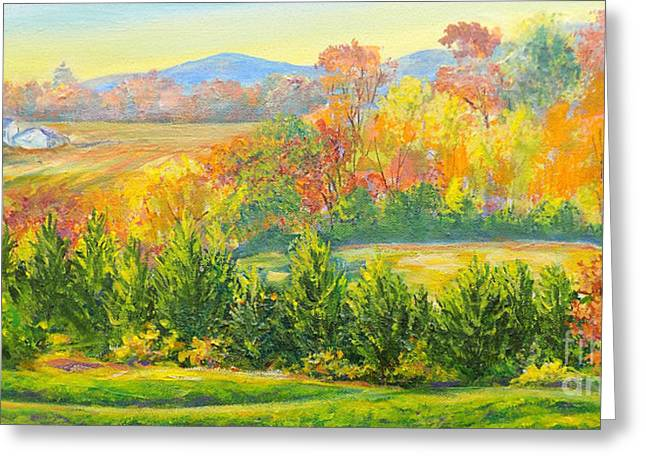 Greeting Card featuring the painting Nixon's Glorious View Of Autumn by Lee Nixon