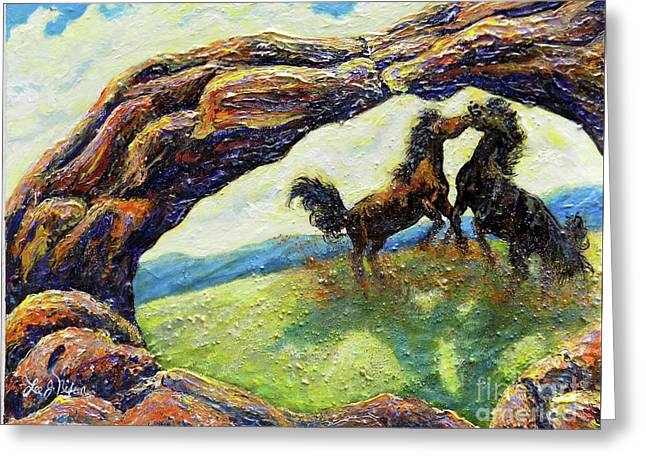 Greeting Card featuring the painting Nixon's Horsing Around by Lee Nixon