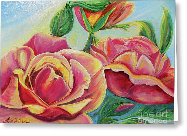 Greeting Card featuring the painting Nixon's Lovely Roses by Lee Nixon
