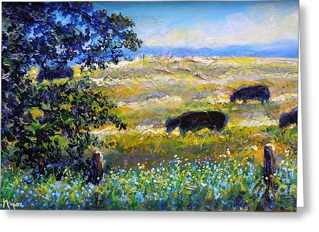 Greeting Card featuring the painting Nixon's Three Plus One Out To Pasture by Lee Nixon