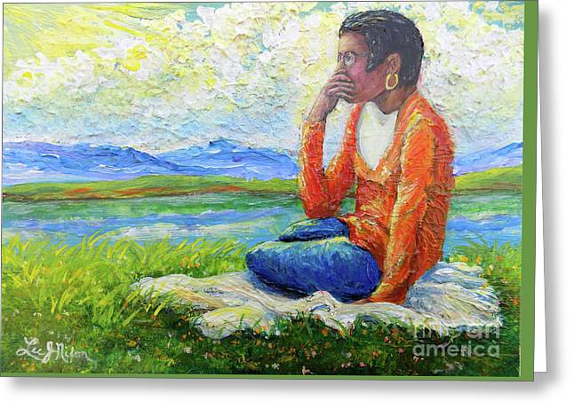 Greeting Card featuring the painting Nixon's Youth Contemplating The Future by Lee Nixon