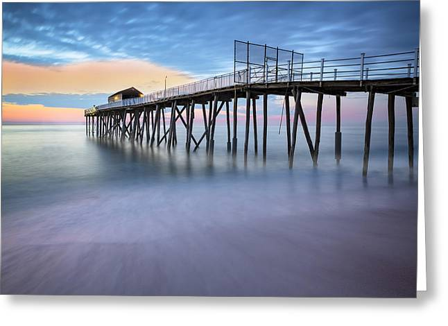 Nj Shore Dawns Early Light Bw Greeting Card