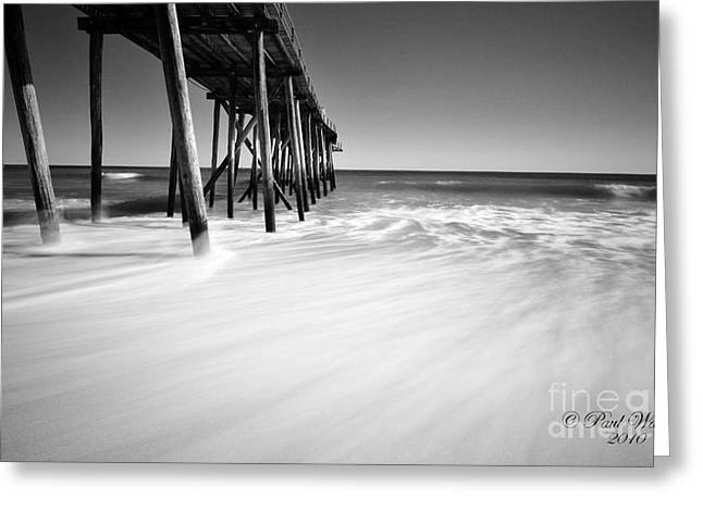 Nj Shore In Black And White Greeting Card by Paul Ward