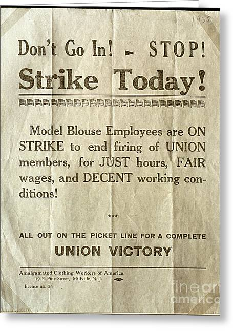 Nj: Strike Poster, 1935 Greeting Card by Granger