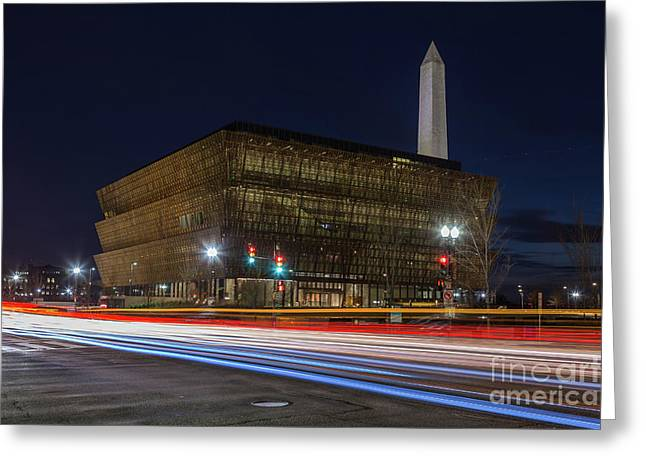 Nmaahc And Traffic Light Trails I Greeting Card by Clarence Holmes