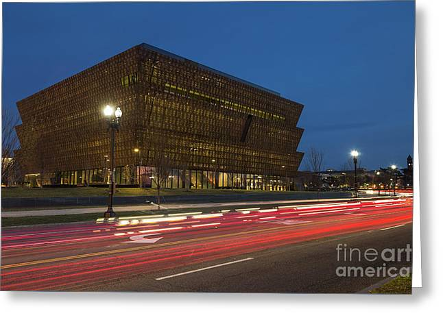 Nmaahc And Traffic Light Trails II Greeting Card by Clarence Holmes