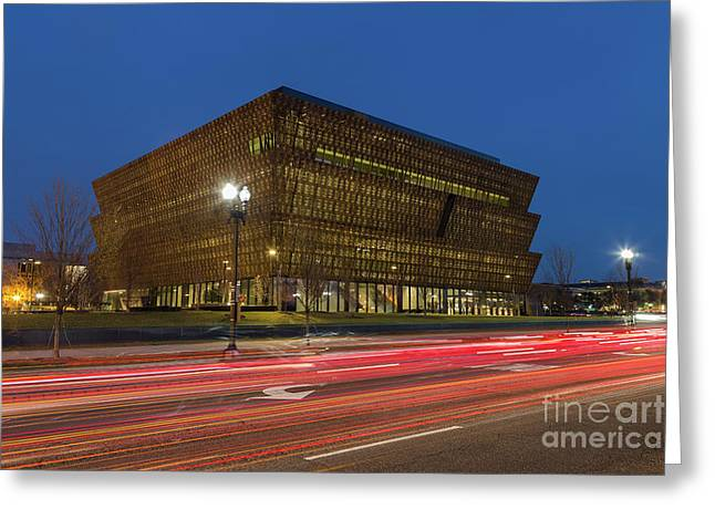 Nmaahc And Traffic Light Trails IIi Greeting Card by Clarence Holmes