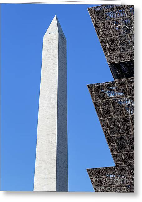 Nmaahc And Washington Monument I Greeting Card by Clarence Holmes