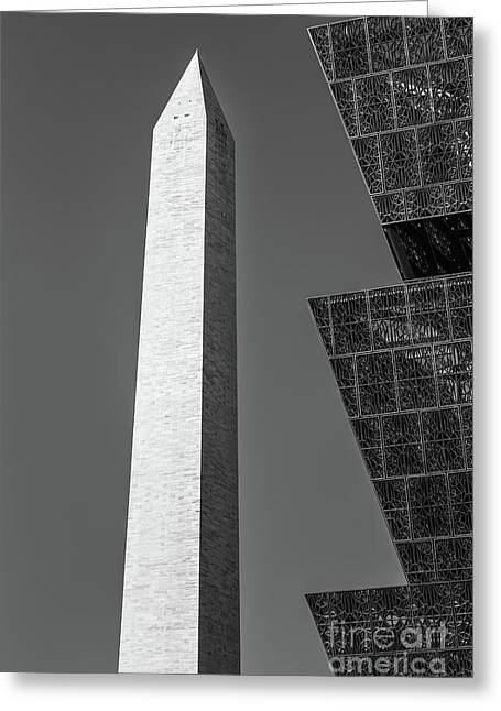 Nmaahc And Washington Monument II Greeting Card by Clarence Holmes