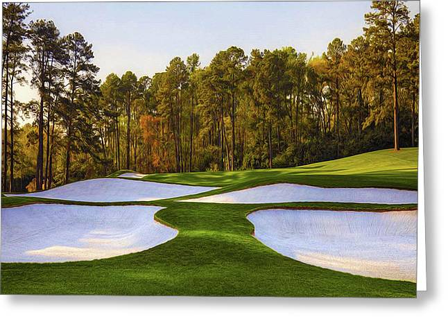 No. 3 Flowering Peach 350  Yards Par4 Greeting Card by Don Kuing