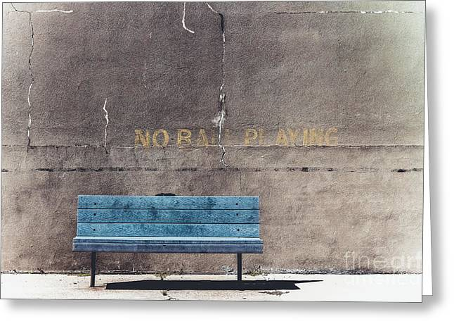 No Ball Playing - Bench Greeting Card by Colleen Kammerer