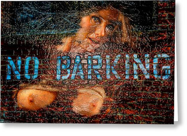Greeting Card featuring the photograph No Barking by Harry Spitz