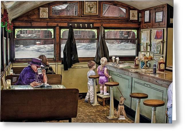 No Dogs Allowed Diner .... Greeting Card by Bob Kramer