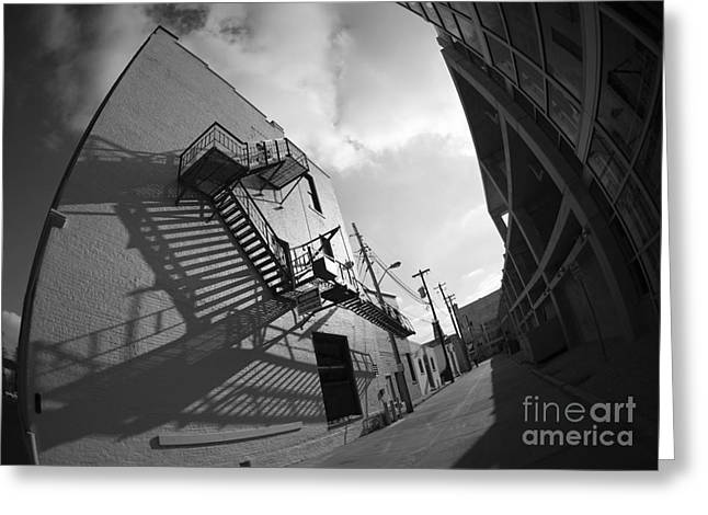 No Escaping Black And White Greeting Card by David Bearden