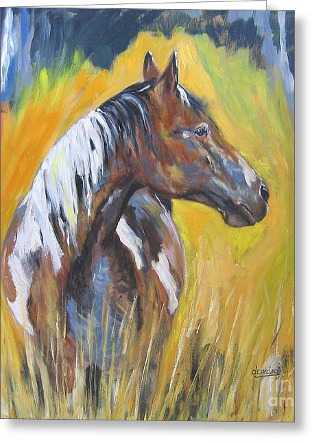 Greeting Card featuring the painting No Fences by Debora Cardaci