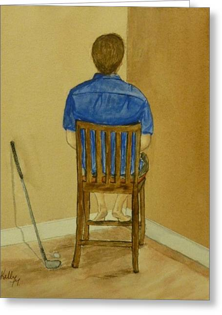 Greeting Card featuring the painting No Golf For You Today by Kelly Mills
