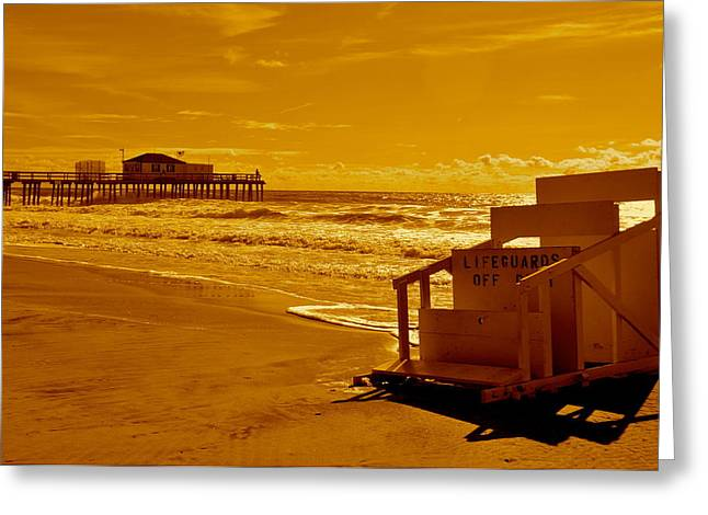 Ocean Grove Greeting Cards - No Lifeguard Greeting Card by Joe  Burns