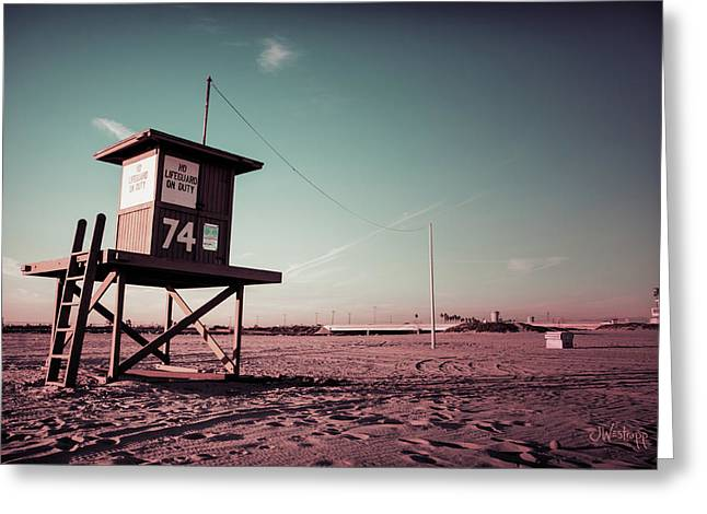 No Lifeguard On Duty Greeting Card by Joseph Westrupp