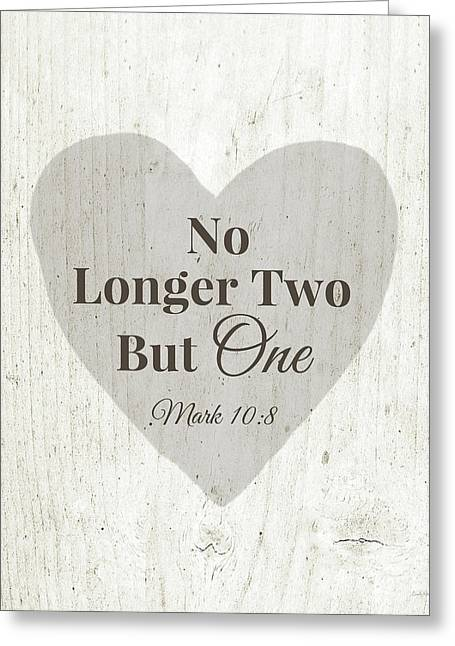 No Longer Two- Art By Linda Woods Greeting Card