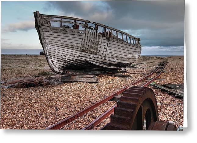 No More Fishing - Abandoned Boat And Rusty Winch Greeting Card by Gill Billington