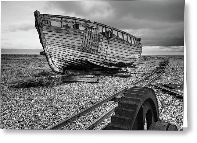 No More Fishing - Abandoned Boat And Rusty Winch B W Greeting Card by Gill Billington