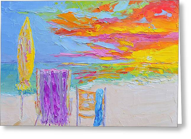 No Need For An Umbrella - Sunset At The Beach - Modern Impressionist Knife Palette Oil Painting Greeting Card