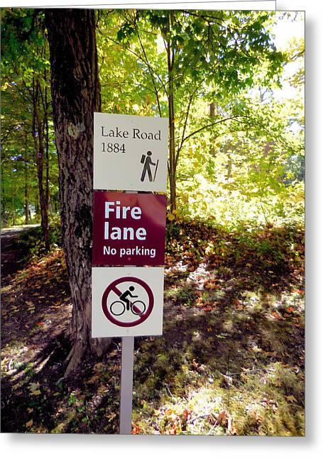 No Parking Fire Lane Sign   Greeting Card