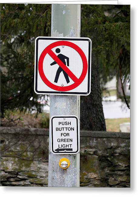 No Pedestrian Crossing Greeting Card by Richard Reeve