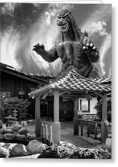 No Reservations Bw Dinosaur Deys Greeting Card