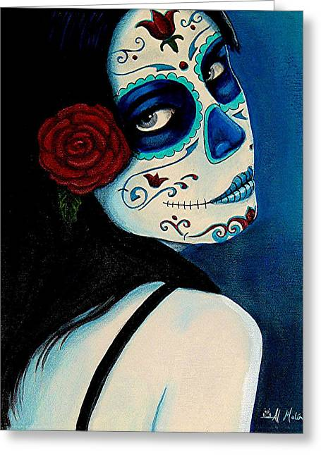 Des Paintings Greeting Cards - No Se Olvide de Mi Greeting Card by Al  Molina