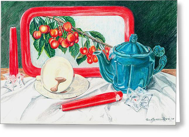No Time For Tea Greeting Card by Paula Farris-Reed