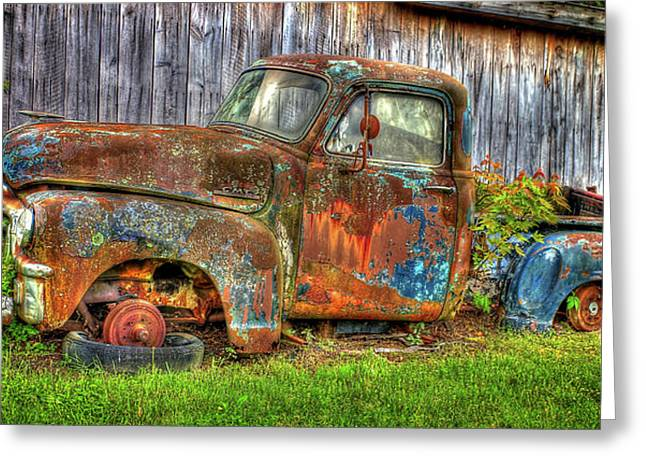 No Tires And Retired 1954 Gmc Stepside Pickup Truck Greeting Card