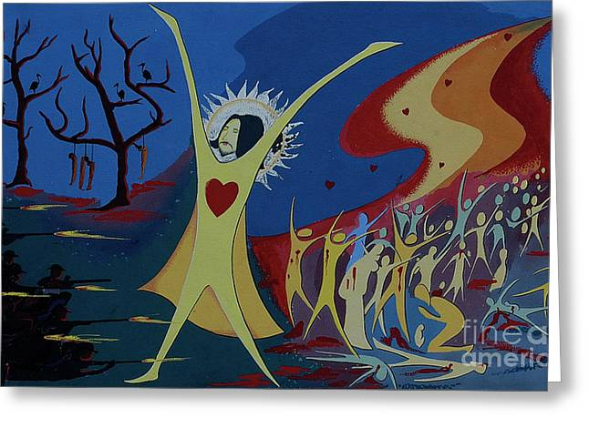 Greeting Card featuring the painting No War by Vilas Malankar