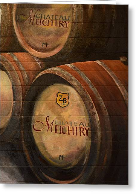 No Wine Before It's Time - Barrels-chateau Meichtry Greeting Card by Jan Dappen