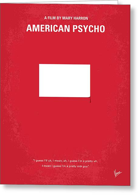 No005 My American Psyhco Minimal Movie Poster Greeting Card by Chungkong Art