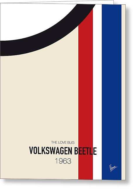 No014 My Herbie Minimal Movie Car Poster Greeting Card