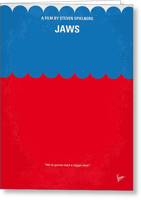 White Digital Greeting Cards - No046 My jaws minimal movie poster Greeting Card by Chungkong Art