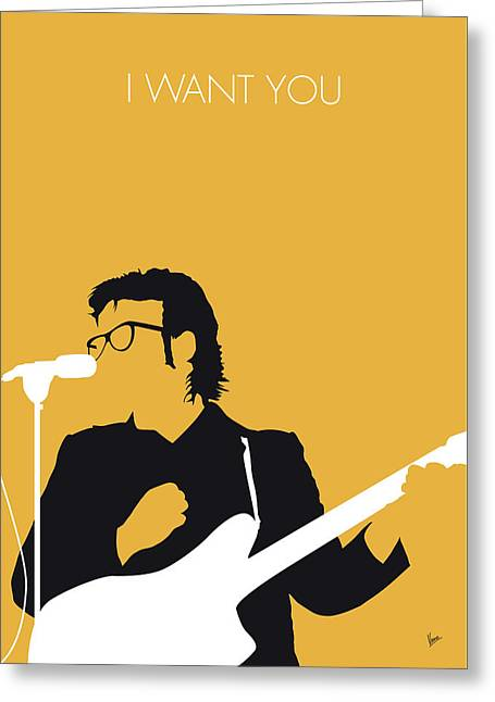 No067 My Elvis Costello Minimal Music Poster Greeting Card by Chungkong Art
