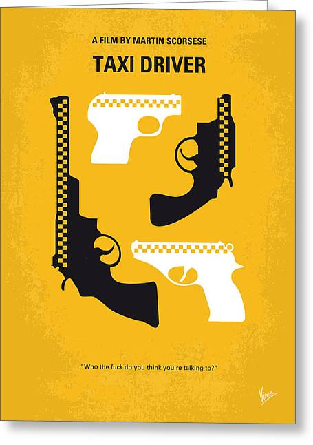 No087 My Taxi Driver Minimal Movie Poster Greeting Card by Chungkong Art
