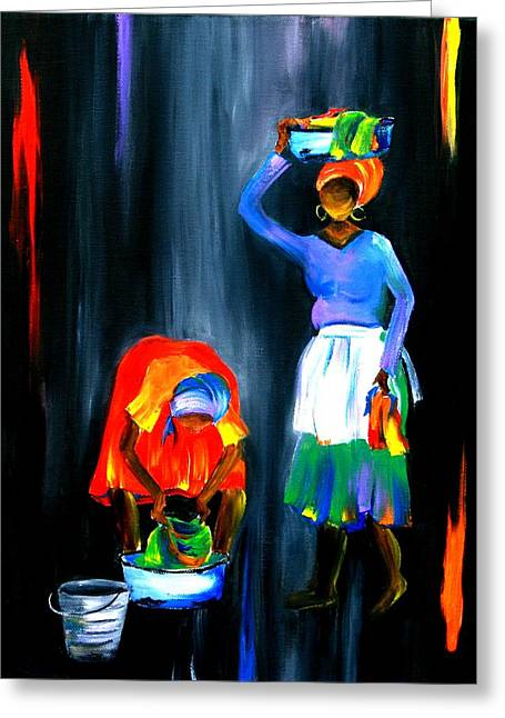 Ethnical Greeting Cards - No1 Everyday Life Of A Woman Greeting Card by Marietjie Henning