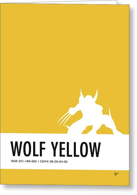 No21 My Minimal Color Code Poster Wolverine Greeting Card by Chungkong Art